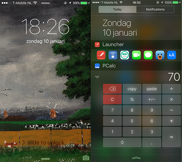 home screen and pcalc widget