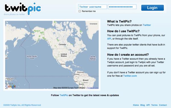 twitpic.com homepage